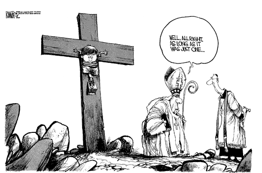 catholic church sex abuse scandal priest bishop boy on cross cartoon Michael Ramirez los angeles times